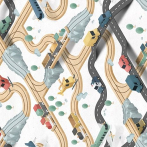 Wooden Train - wood tracks and streets - rotated