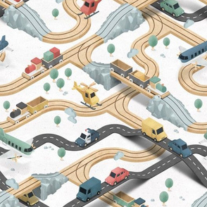 Wooden Train - wood tracks and streets - BIG