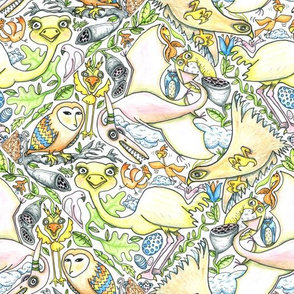 large birds, small birds and pterodactyl tiles, large scale, white, yellow, green, blue, orange, gray, black, pink