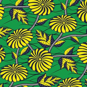 African Wax Print Flowers Green and Yellow