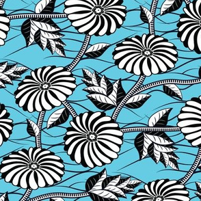 African Wax Print Flowers Baby Blue