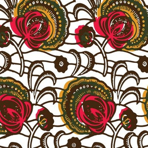 African Wax Print Flowers