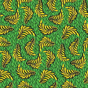 Green and Yellow African Wax Print Leaves