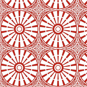 Windmill Wheels - Harvest Storm (Red and White - 8 inch)