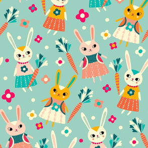 bunny dolls with carrots // light blue // medium scale