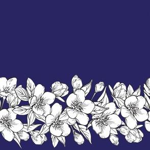 Border with sakura flowers