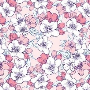seamless pattern with sakura coral