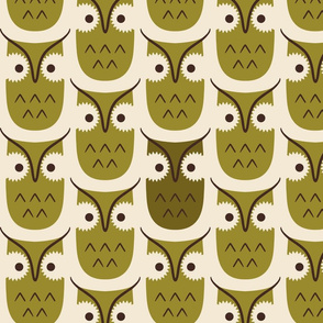 Graphic owls - chartreuse - large scale