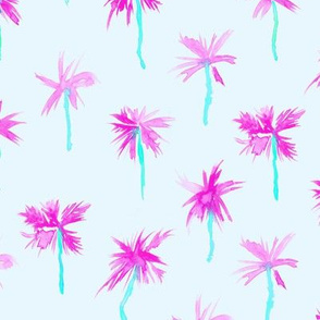 Fun magenta and mint Palm d'Azur - watercolor palms for beach and summer