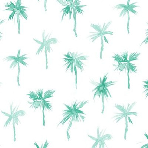 Palm d'Azur - watercolor emerald palms for beach and summer