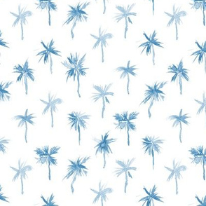 Palm d'Azur in blue - watercolor palms for beach and summer