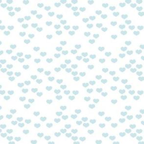 Little lovers small hearts basic minimal trend heart boho print soft blue on white