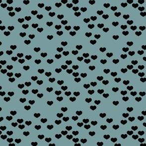 Little lovers small hearts basic minimal trend heart boho print stone blue