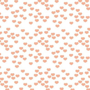Little lovers small hearts basic minimal trend heart boho print soft coral peach on white