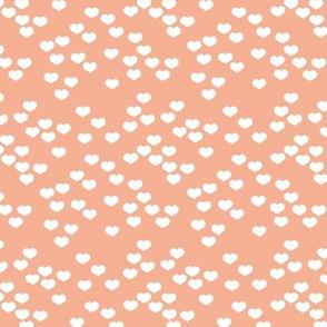 Little lovers small hearts basic minimal trend heart boho print soft coral peach white
