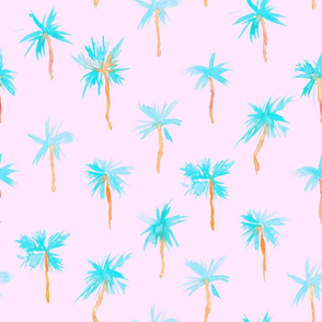 Palm d'Azur on blush pink - watercolor palms for beach and summer, larger scale