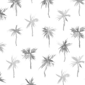Silver Palm d'Azur - watercolor palms for beach and summer in shades of grey