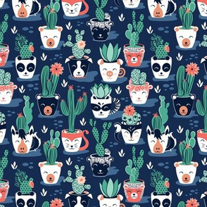 Tiny scale // Cacti and succulents cuddly pots // marine blue background navy white and terracota animal vessels green sage cactus