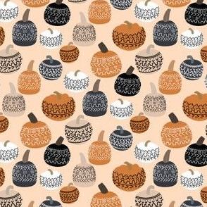 SMALL mudcloth pumpkins - earth toned fall halloween fabric - peach