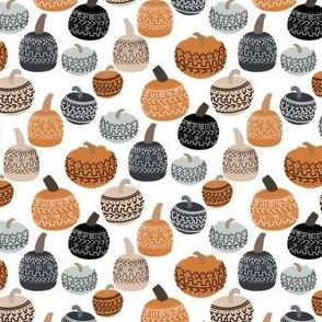 SMALL mudcloth pumpkins - earth toned fall halloween fabric - white