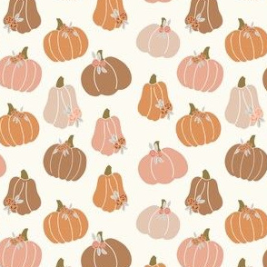 halloween pumpkins floral - muted colors fabric -cream no black
