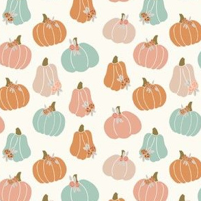 halloween pumpkins floral - muted colors fabric - cream and sage  no black