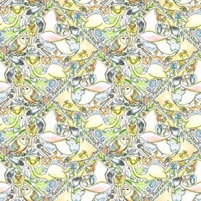 large birds, small birds and pterodactyl tiles, small scale, white, yellow, green, blue, orange, gray, black, pink