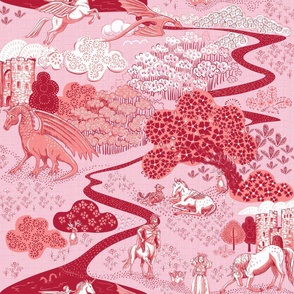 Mythical Creatures Toile cranberry 150