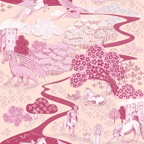 Mythical Creatures Toile large peach pink