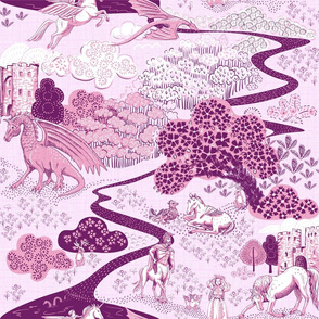 Mythical Creatures Toile  Lavender/plum