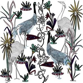 Batik Crane - white