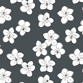 Tropical Hawaii island vibes hibiscus flower garden summer design charcoal gray white