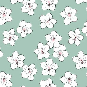 Tropical Hawaii island vibes hibiscus flower garden summer design nursery soft sage green pink