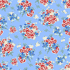 FORGET ME NOTS, DAISIES AND SWEET WILLIAM PATRIOTIC FLORAL