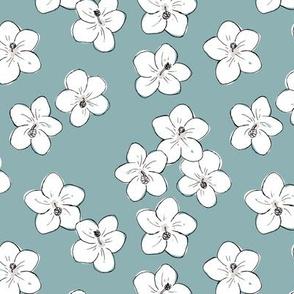 Tropical Hawaii island vibes hibiscus flower garden summer design nursery soft cool blue