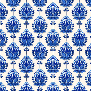 BLUE AND IVORY BLOCK PRINT