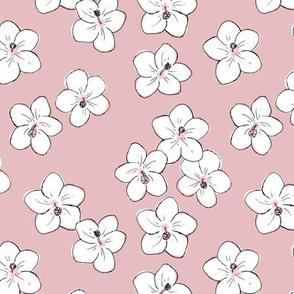 Tropical Hawaii island vibes hibiscus flower garden summer design nursery rose pink