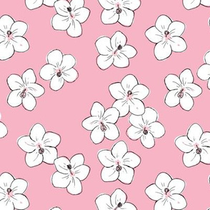 Tropical Hawaii island vibes hibiscus flower garden summer design nursery girl pink