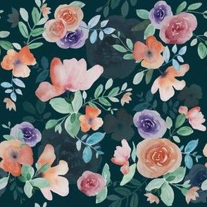 Watercolour florals repeat