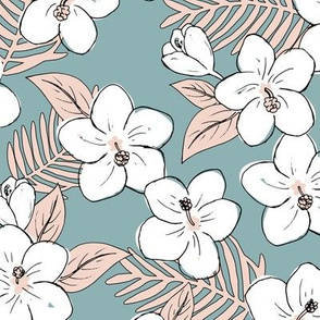 Boho hibiscus blossom and palm leaves Hawaii tropical summer garden nursery soft blue blush pink