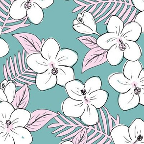 Boho hibiscus blossom and palm leaves Hawaii tropical summer garden nursery blue pink white
