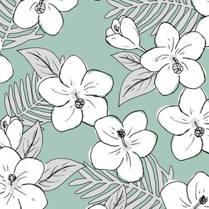 Boho hibiscus blossom and palm leaves Hawaii tropical summer garden nursery white gray sage green