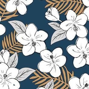 Boho hibiscus blossom and palm leaves Hawaii tropical summer garden nursery white navy blue cinnamon brown