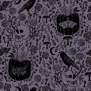 halloween linocut fabric - poe, skull, pumpkin, nevermore - dusty purple