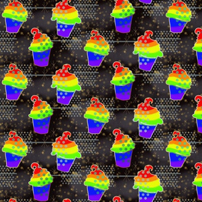 Rainbow Celebration Cupcake -- Large Scale