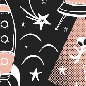 Out Of This World Toile - Black & Blush Pink Jumbo Scale