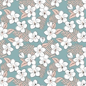 Boho hibiscus blossom and palm leaves Hawaii tropical summer garden nursery soft blue blush pink SMALL