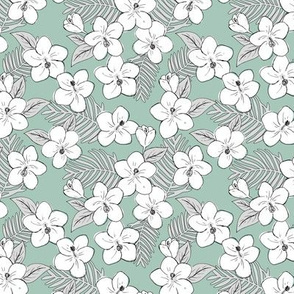 Boho hibiscus blossom and palm leaves Hawaii tropical summer garden nursery white gray sage green SMALL