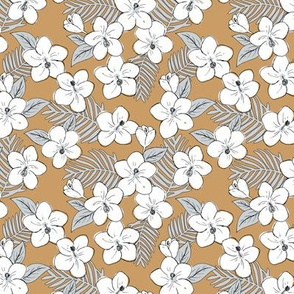 Boho hibiscus blossom and palm leaves Hawaii tropical summer garden white cinnamon brown gray SMALL