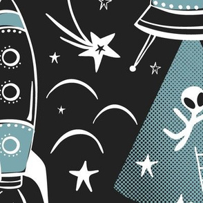 Out Of This World Toile - Black & Dusty Aqua Jumbo Scale